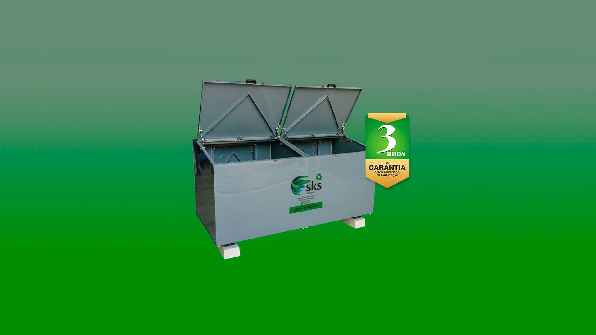 Lixeiras Ecológicas para Condomínios e Empresas, alta resistência, excelente vedação, chave para abrir, portas adicionais, anti-pixação